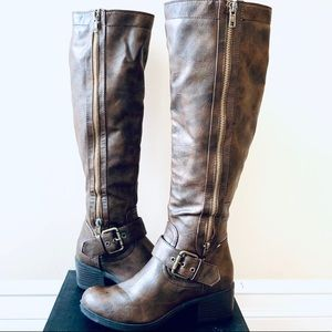 Just Fab Tall Brown Leather Boots Size 7